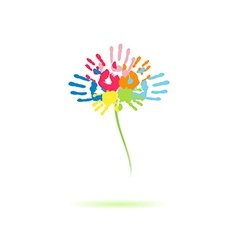 Colorful flower of the handprints vector image vector image