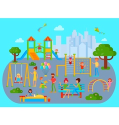 Flat childrens playground composition vector