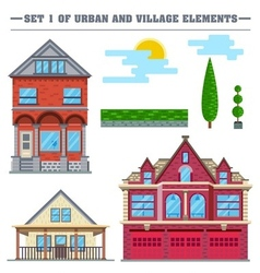 flat Set of urban and village vector image