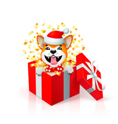 happy cartoon puppy in gift box wearing santas hat vector image
