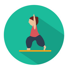 Human doing yoga warrior pose icon vector