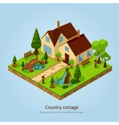 Isometric Country Cottage Landscape Design Concept vector image