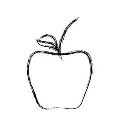 Line delicious apple healthy fruit vector