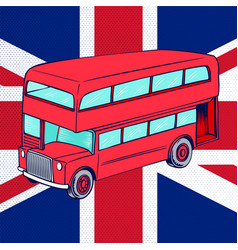 London bus with uk flag vector