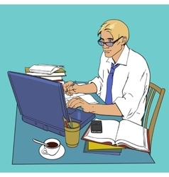 Man at work and a large number of documents vector