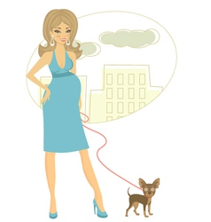 Preggy with little dog vector image vector image