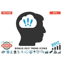 Problem brainstorm flat icon with 2017 bonus trend vector