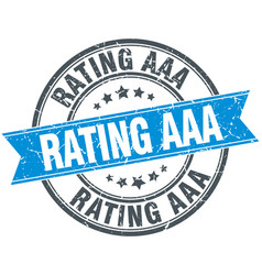 Rating aaa blue round grunge vintage ribbon stamp vector