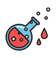 red potion with drops and bubbles line style vector image vector image