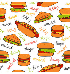 Seamless pattern with sandwiches vector
