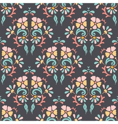 Seamless retro pattern of different colored flower vector image vector image