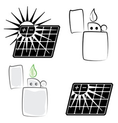 solar panel and lighter vector image vector image