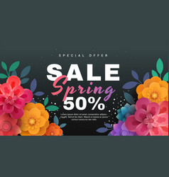 spring sale banner with paper flowers on a black vector image vector image
