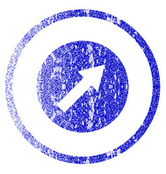 Up-right rounded arrow grunge textured icon vector