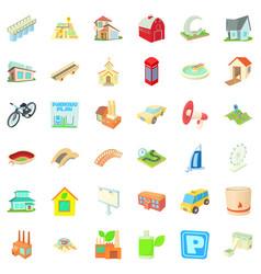 urban icons set cartoon style vector image vector image