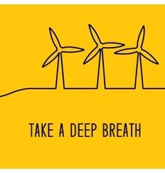 Wind turbines generating electricity vector