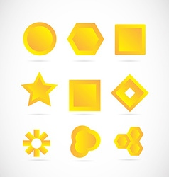 Yellow logo icon elements set vector