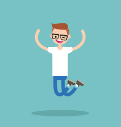 Young winking jumping nerd boy flat editable vector