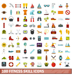 100 fitness skill icons set flat style vector
