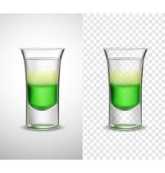 Alcohol drinks colored glassware transparent vector