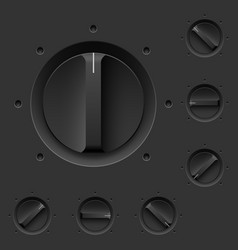Black control panel with switches for design vector