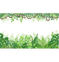 Tropical plants horizontal border vector