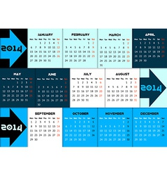 Blue infographic calendar 2014 with arrows vector