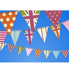 Bunting on blue sky vector image