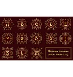 Elegant monogram design templates with letters vector image