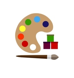 Color palette and brush flat icon vector
