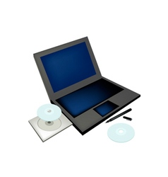 Laptop computer with pen and compact disc vector