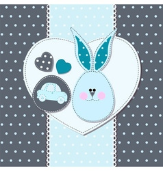 Card with bunny for invitations shower greeting vector