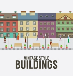 Vintage style buildings in the city vector