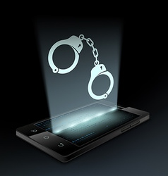 Icon handcuffs hologram vector