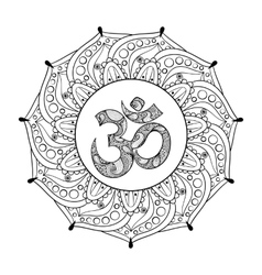 Hand drawn ohm symbol indian diwali spiritual vector