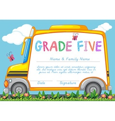 Certificate with background of schoolbus in the vector image