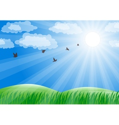 Spring landscape with green grass and sun shine vector