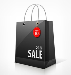 Shopping black bag vector image