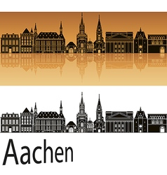 Aachen skyline in orange vector image