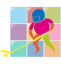Sport icon design for ground hockey in color vector