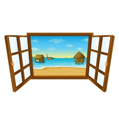 Sea view window vector