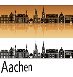 Aachen skyline in orange vector image