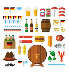 beer festival icons set oktoberfest holiday vector image vector image