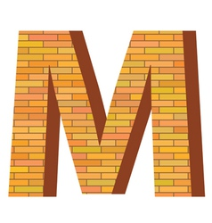 brick letter M vector image vector image