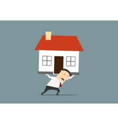 Businessman carrying a house on his back vector