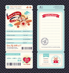 Cartoon Boarding Pass Ticket Wedding Invitation Te vector image vector image