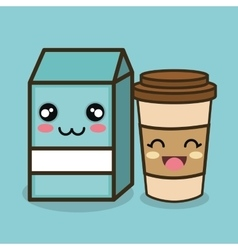 Character emotion milk and cup plastic design vector