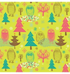 Christmas forest with owl vector image