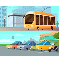 City transport cartoon compositions vector