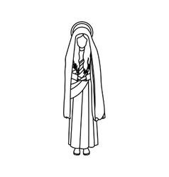 Contour figure human of saint virgin maria vector